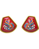 Red Enamel Clip On Earrings