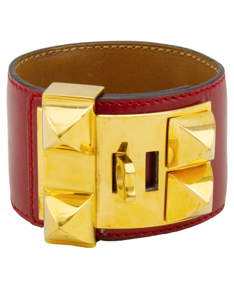 Red Leather Collier de Chien Bracelet Cuff