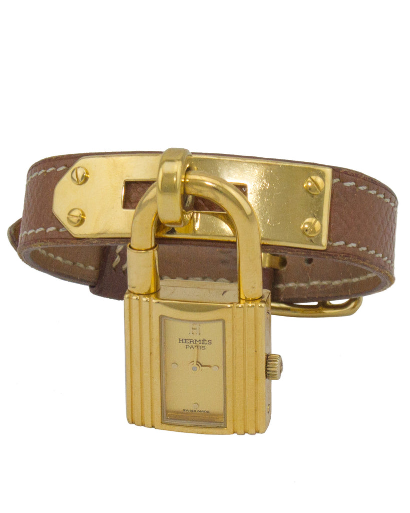 Tan Leather Kelly Watch with Gold Hardware