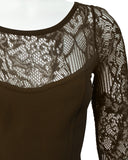 Brown Long Sleeve Lace cocktail