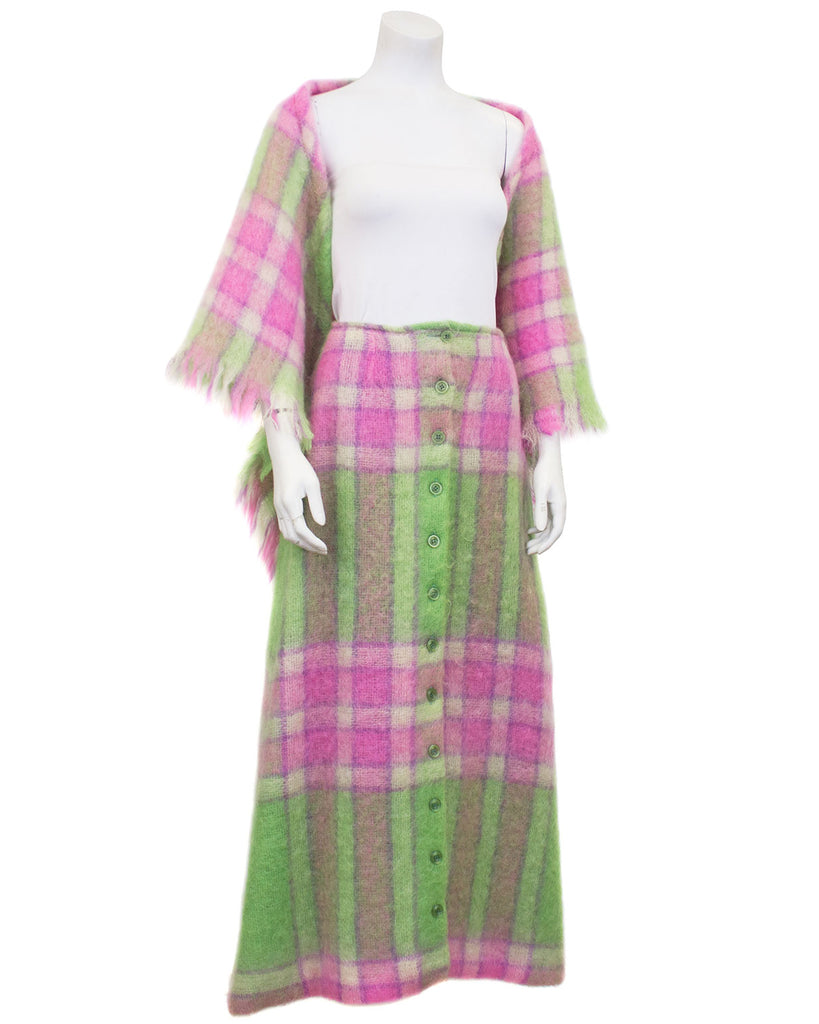 Pink and Green Mohair Plaid Skirt and Shawl
