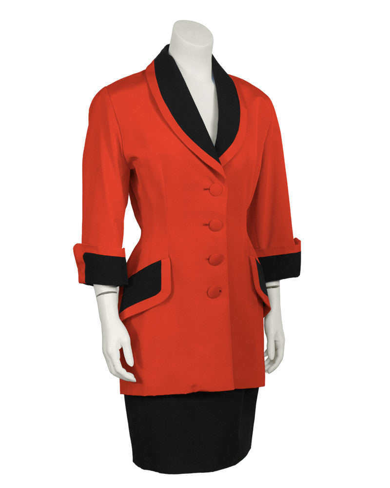 Red and Black Skirt Suit