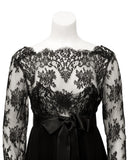 Black Chiffon and Lace Dress