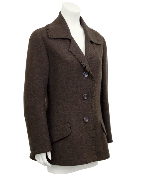 Brown Felted Wool Peacoat