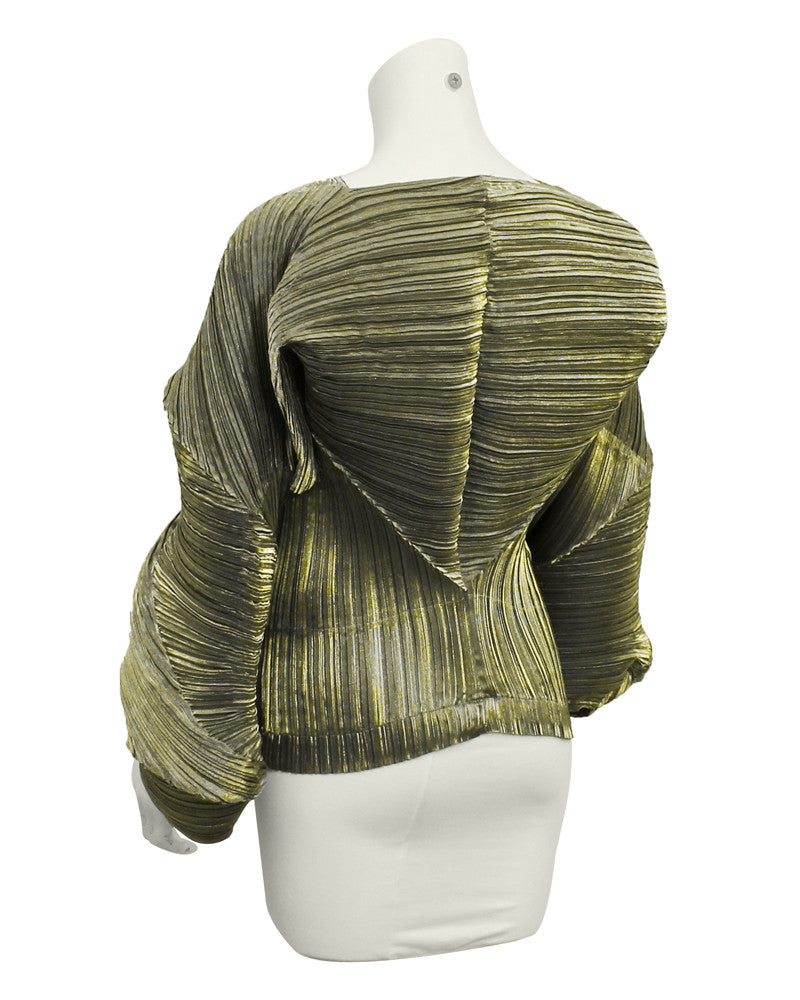 Green micro pleated top