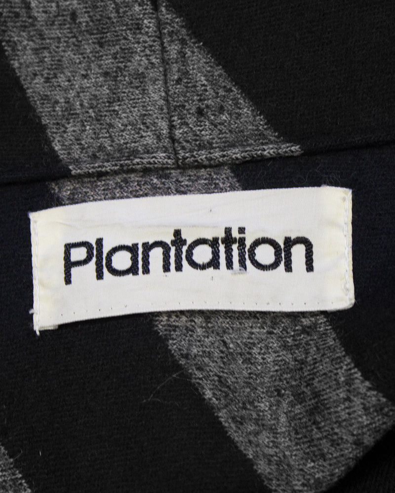 Black and Grey Plantation by Issey Miyake Striped Set