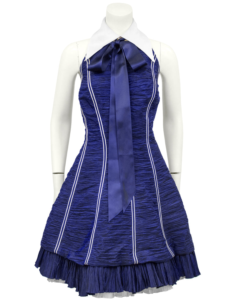 Navy Blue Micro Pleated Cocktail Dress