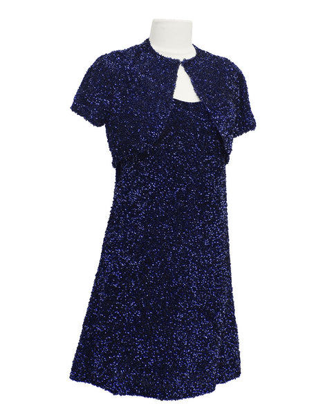 Navy Blue Sequin Mini Dress and Bolero