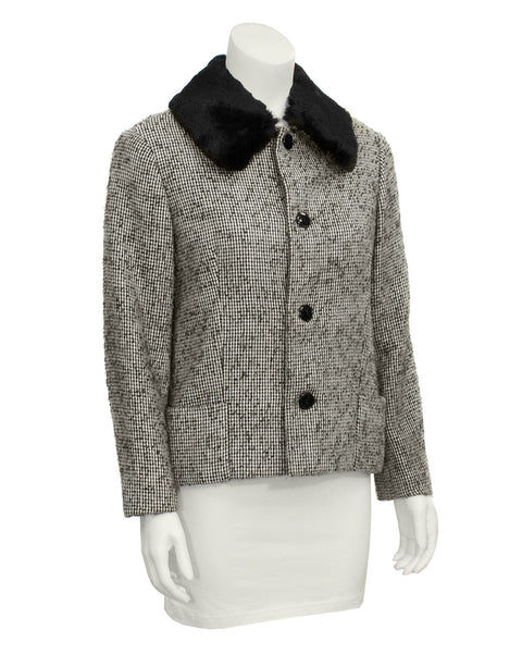 Black Tweed Jacket with Fur Collar