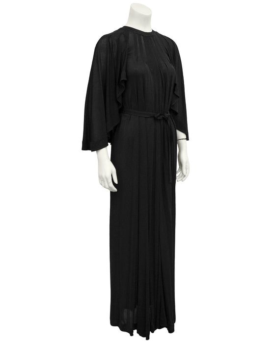 Black Rayon Jersey Cape Gown