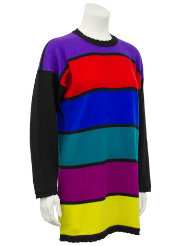 Multi-color Cashmere Horizontal Multicolor Stripe Sweater