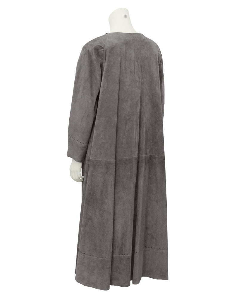 Grey Suede duster maxi coat