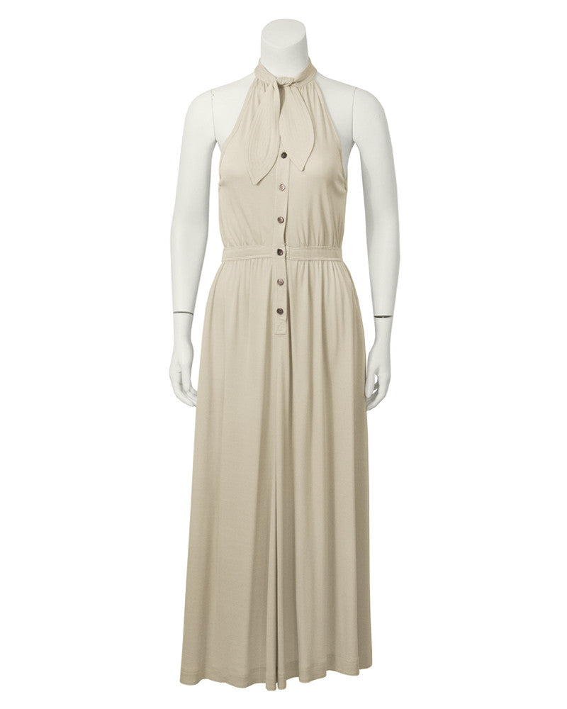 Beige Sleeveless Dress with Necktie