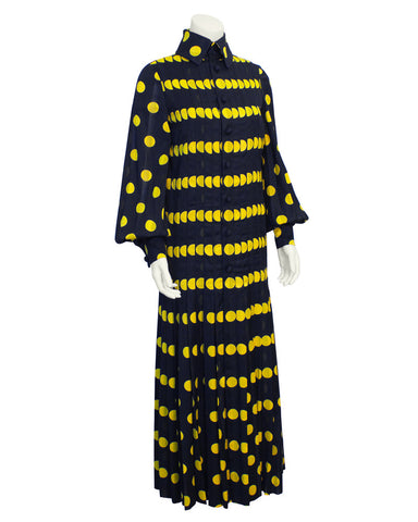 Navy Pleated Gown with Yellow Polka Dots