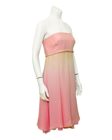 Pink Strapless Ombre Chiffon Dress