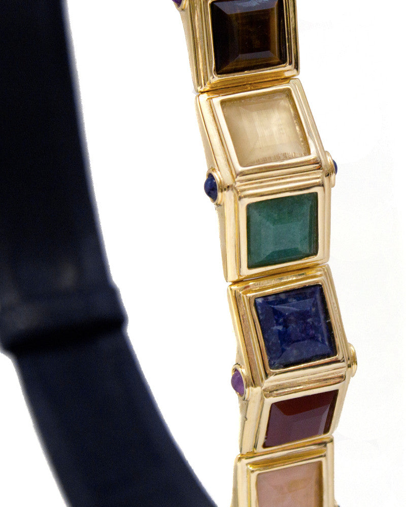 Navy Lizard Belt with Multi Colored Stones