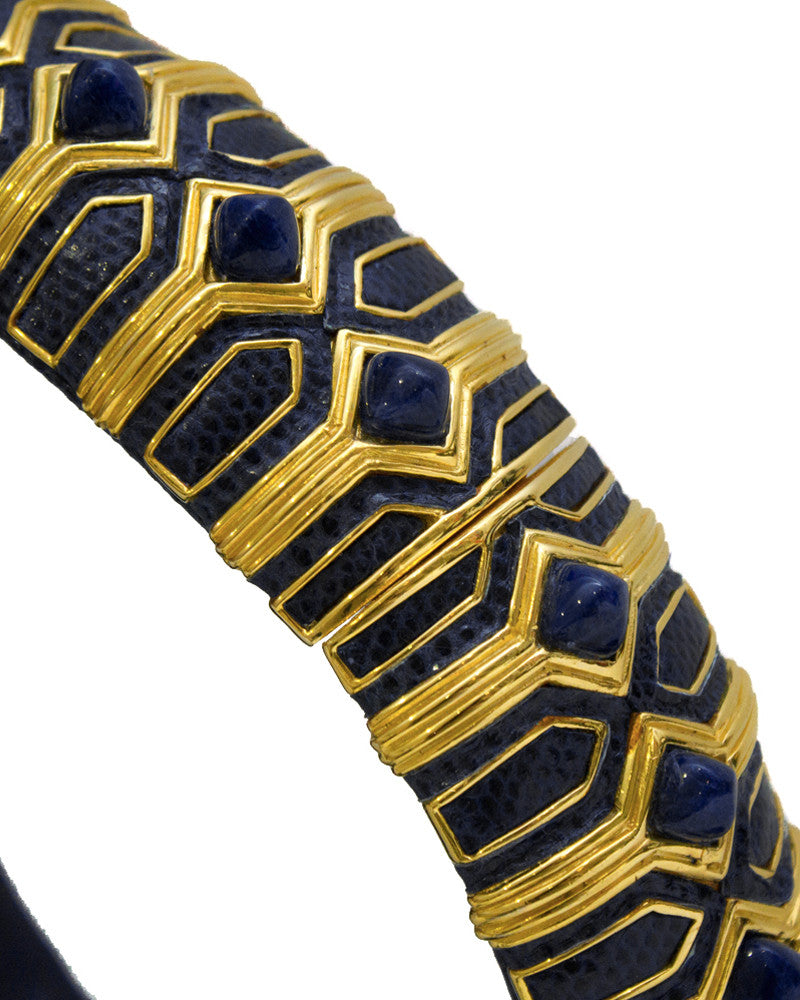 Navy Lizard Skin Belt