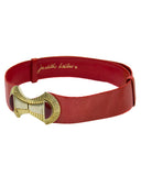 Red Lizard Belt with Gold Details