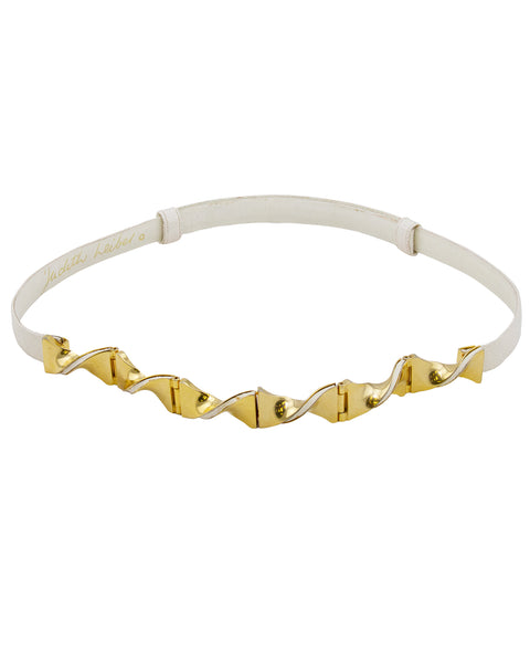 White and Gold Judith Leiber Skin Belt