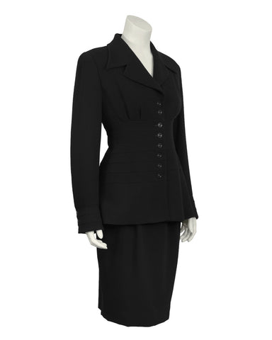 Black Wool Panelled Suit