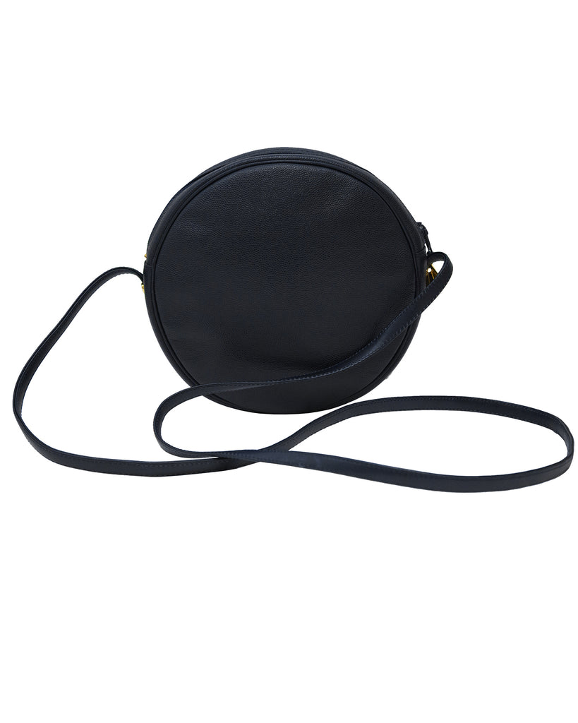 Blue Leather Round Crossbody Bag