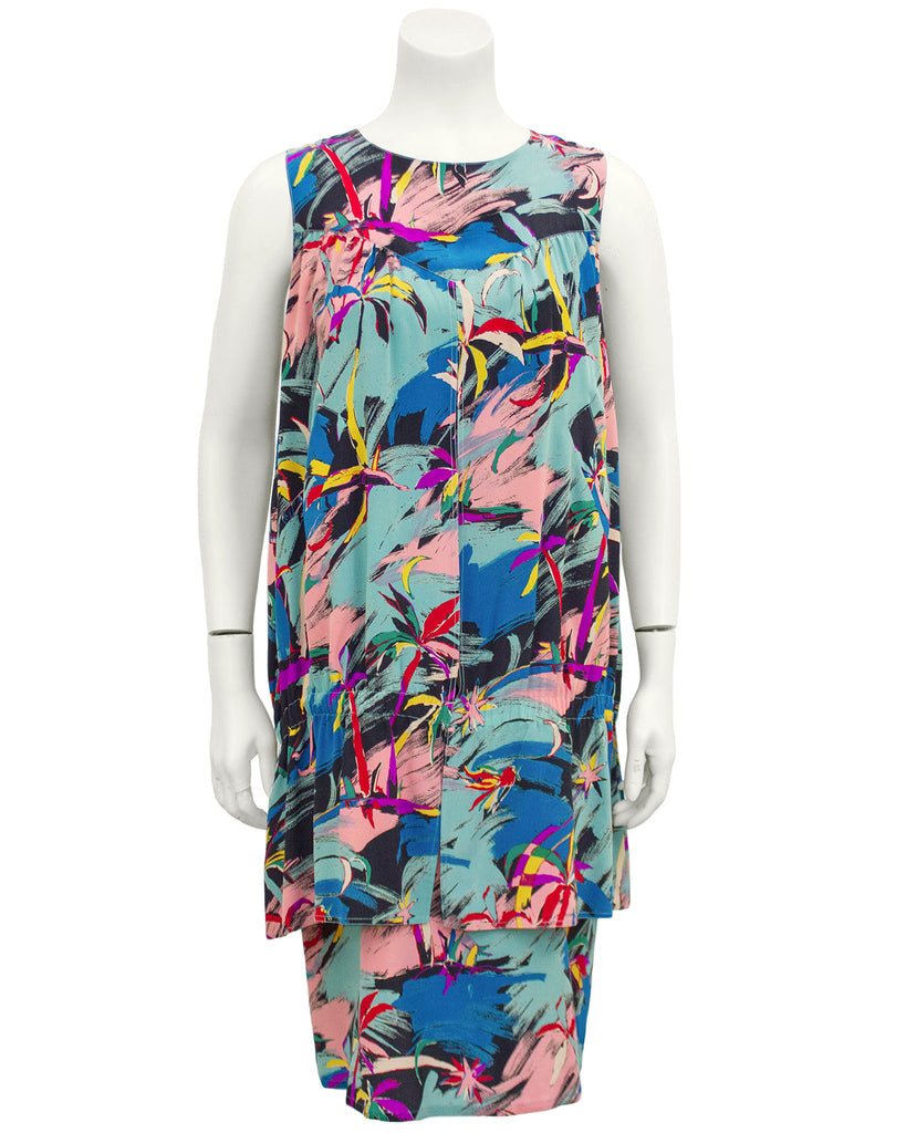Multi-Colour Tropical Abstract Print Dress