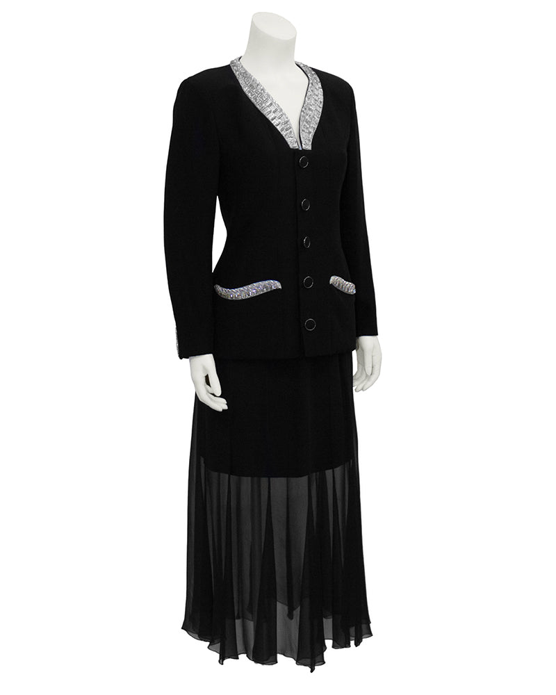 Black Skirt Suit with Beaded Collar