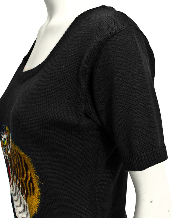 Black short sleeve sweater with tiger motif