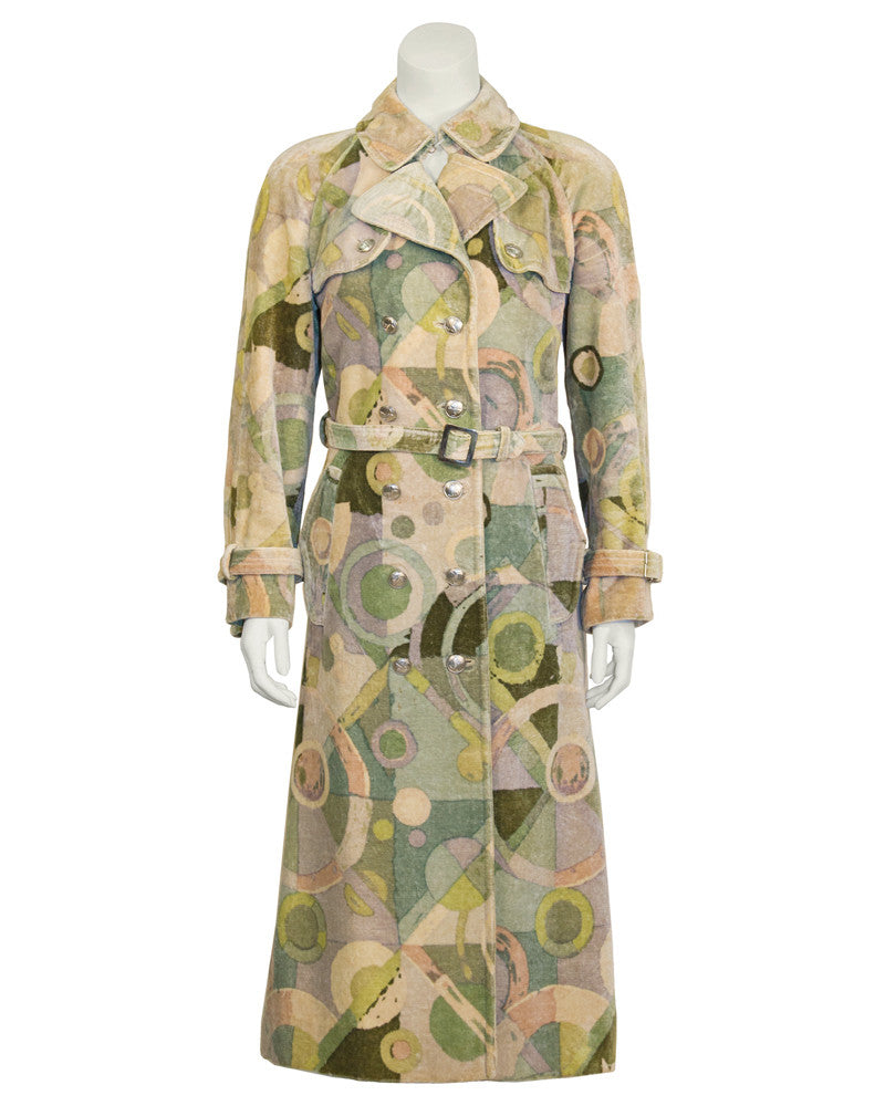 Green Abstract Print Velvet Trench
