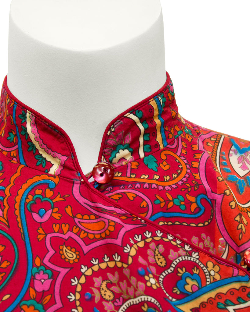 Red and Orange Paisley Cotton Top and Skirt Ensemble