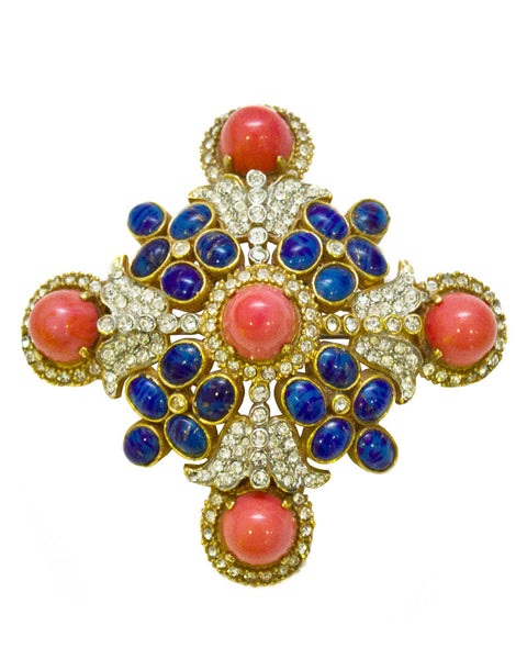 Coral and Lapis Cross Style Pin