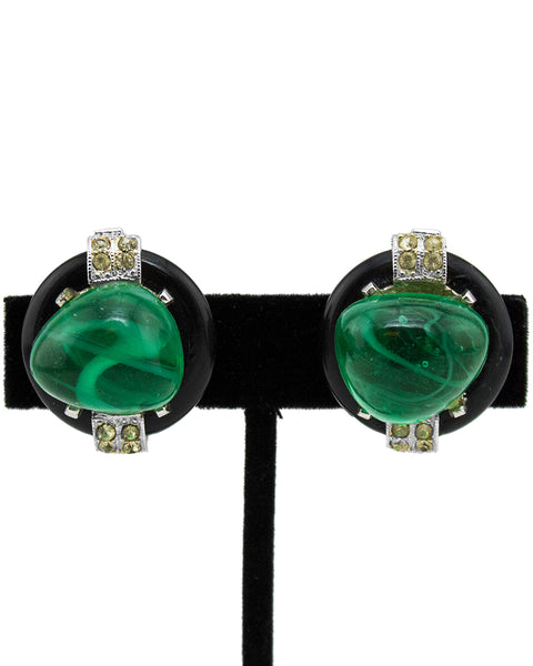 Faux Emerald  Cabochon Clip Earrings