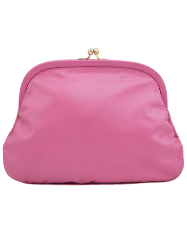 Pink Leather Clutch with Colorful Interior Coin and Glass Case