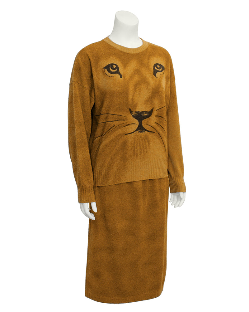 Brown Lion Face Knit Set