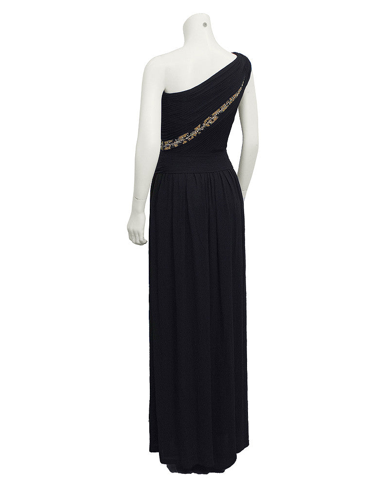 Black One shoulder gown