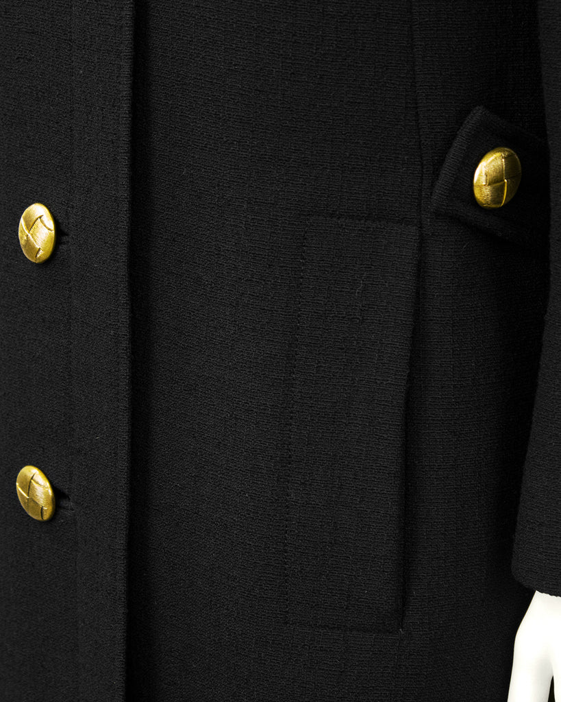Black Wool 3/4 Coat
