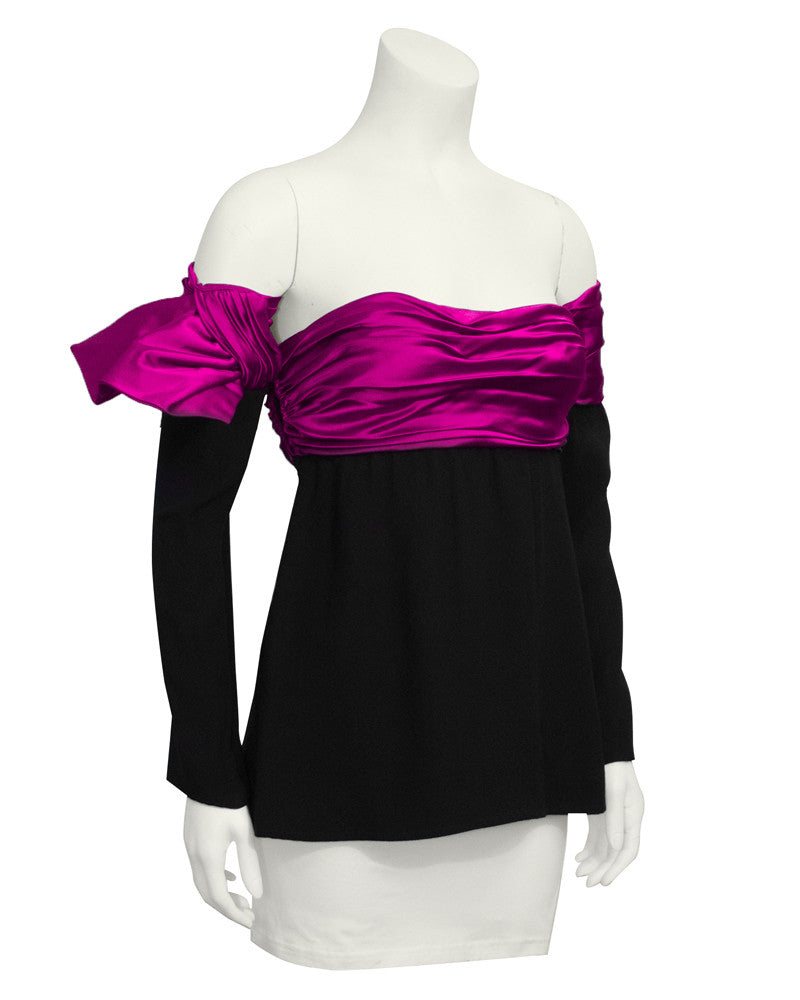 Black and Pink Strapless Bustier with Detachable Arms