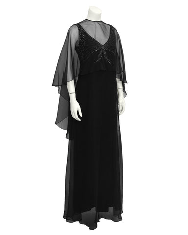 Black Chiffon Gown with Shawl