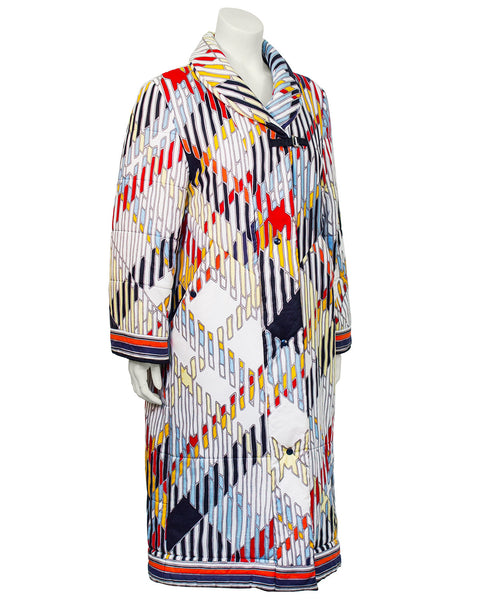 Multi Color Cotton Quilted Overcoat