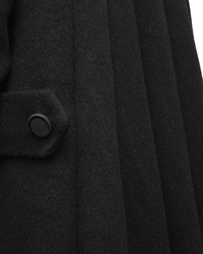 Black Wool Swing Coat
