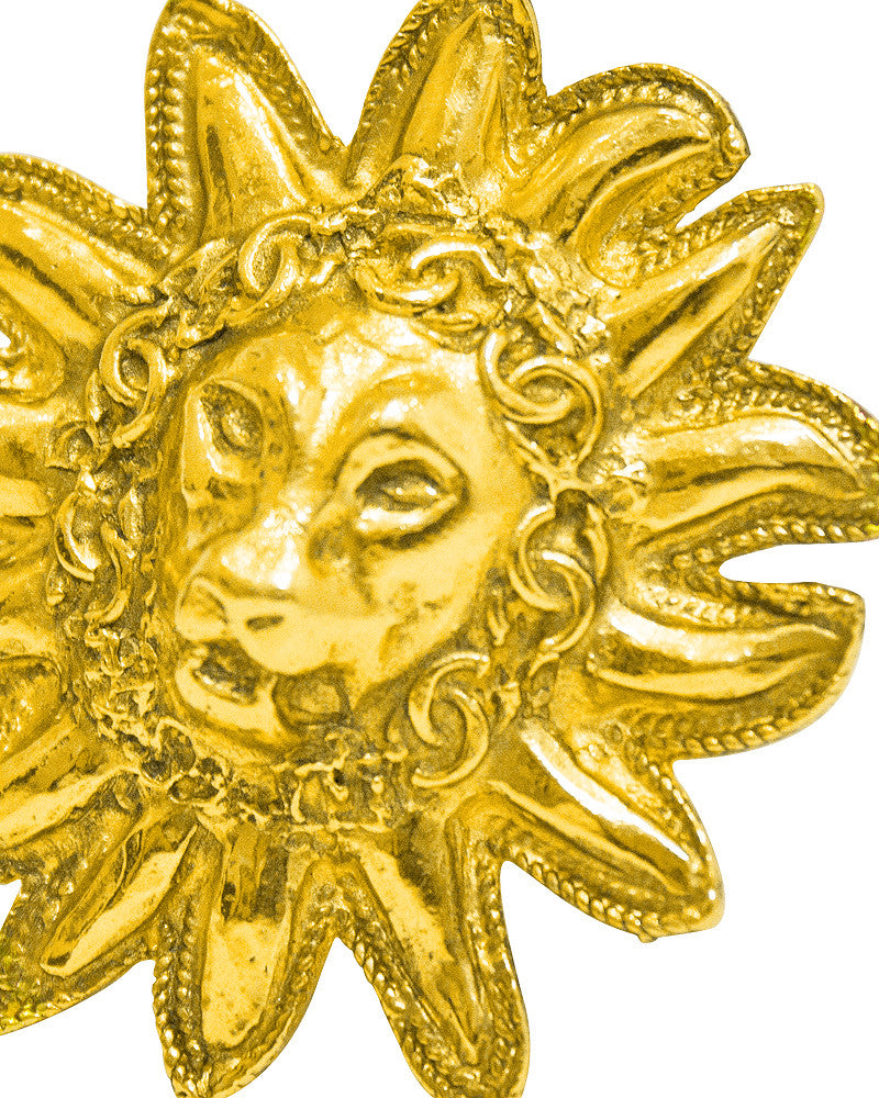 Gold Lion's Head pin