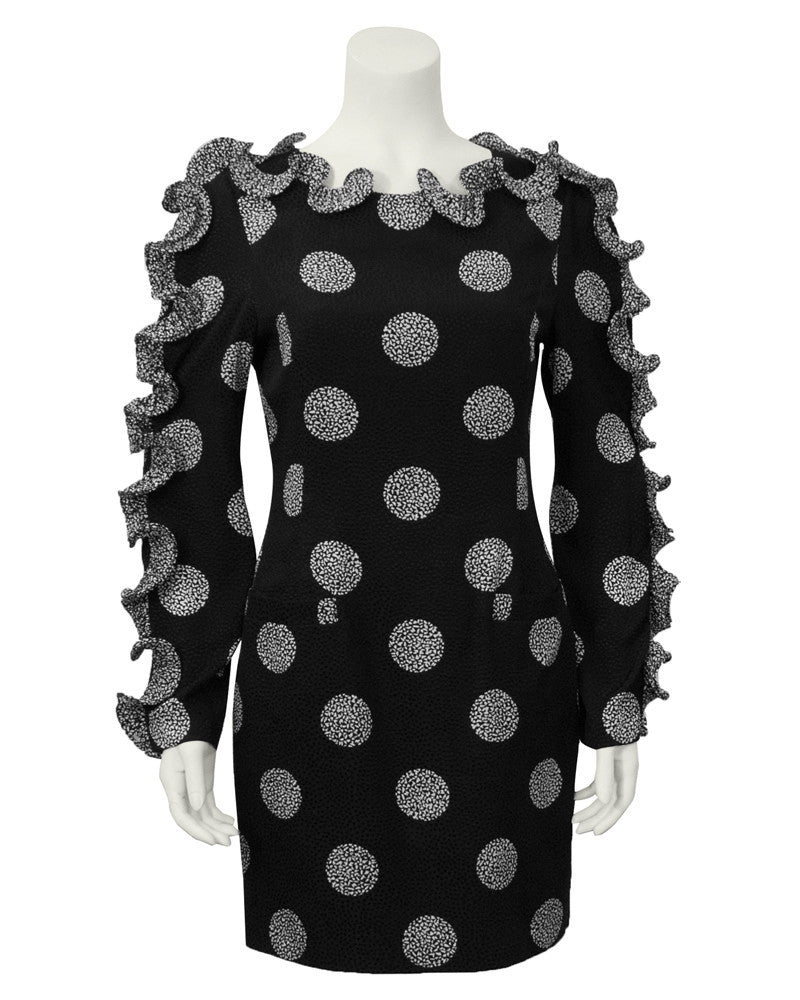 Black & White Polka Dot Dress with Ruffle Sleeves and Neckline