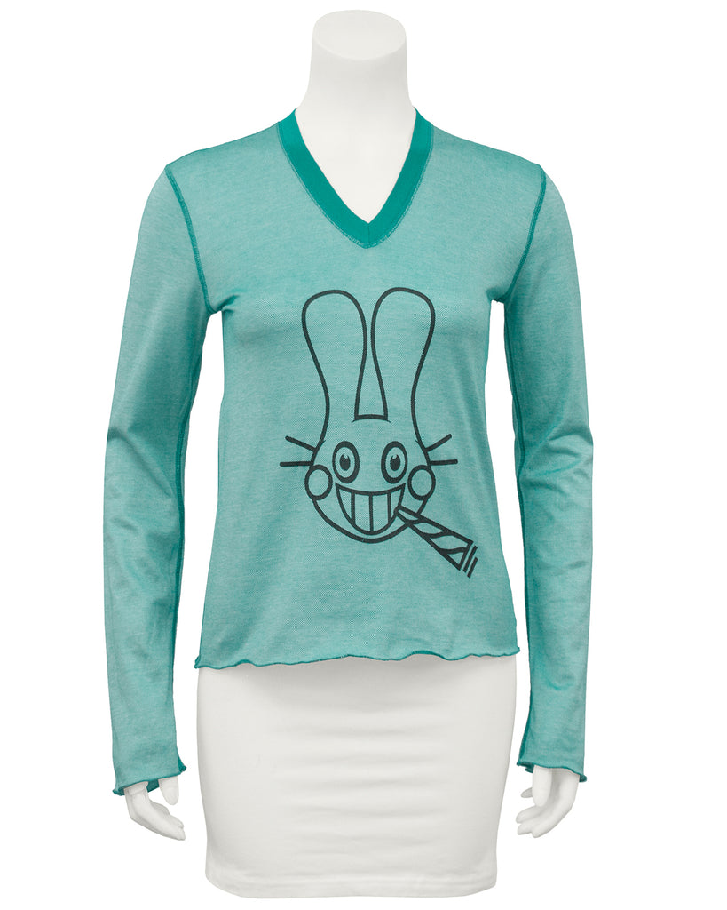 Teal long sleeve shirt with bunny image