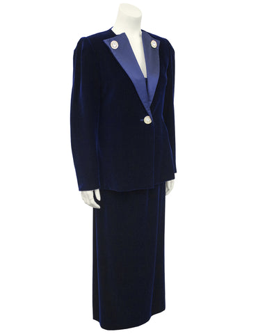 Navy Blue Velvet And Silk 3 Pc Ensemble