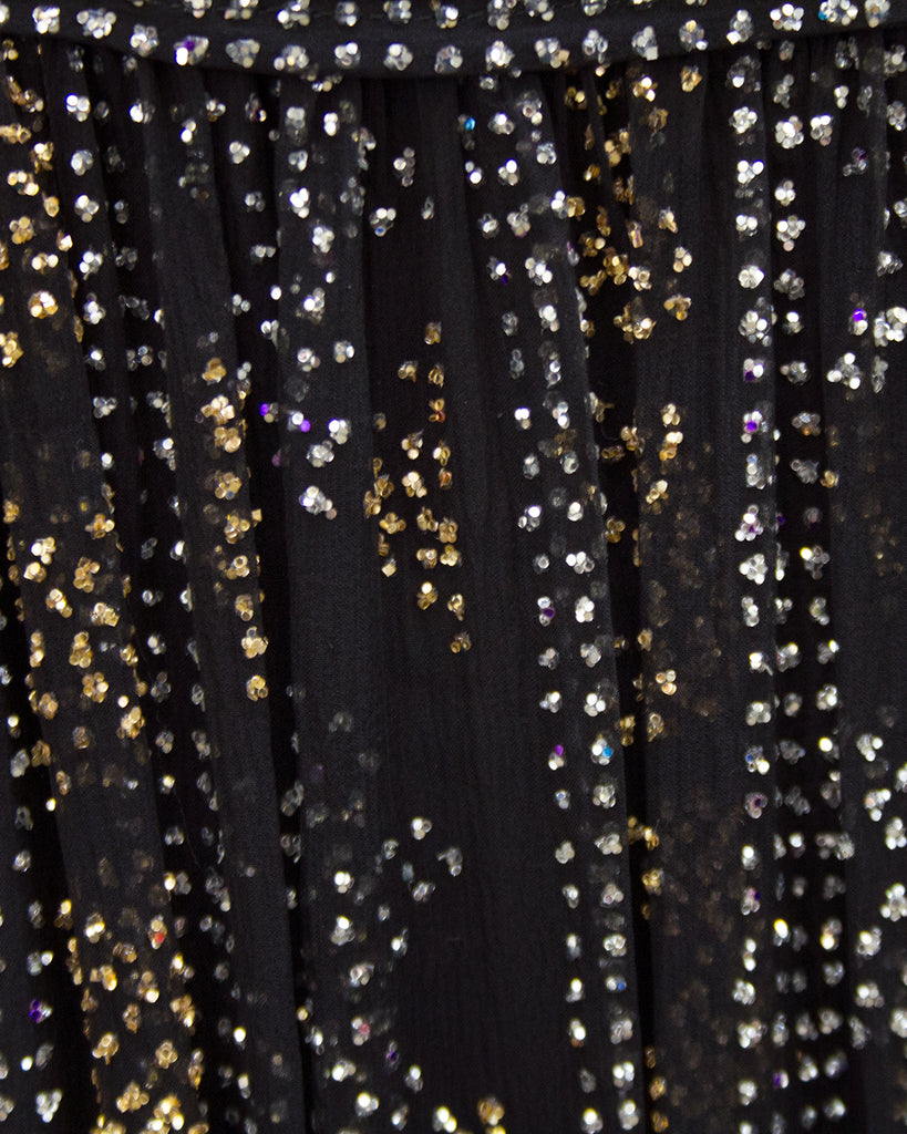 Black Chiffon Gown with Silver and Gold Sparkles