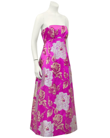 Pink and Metallic Floral Brocade Tea Gown