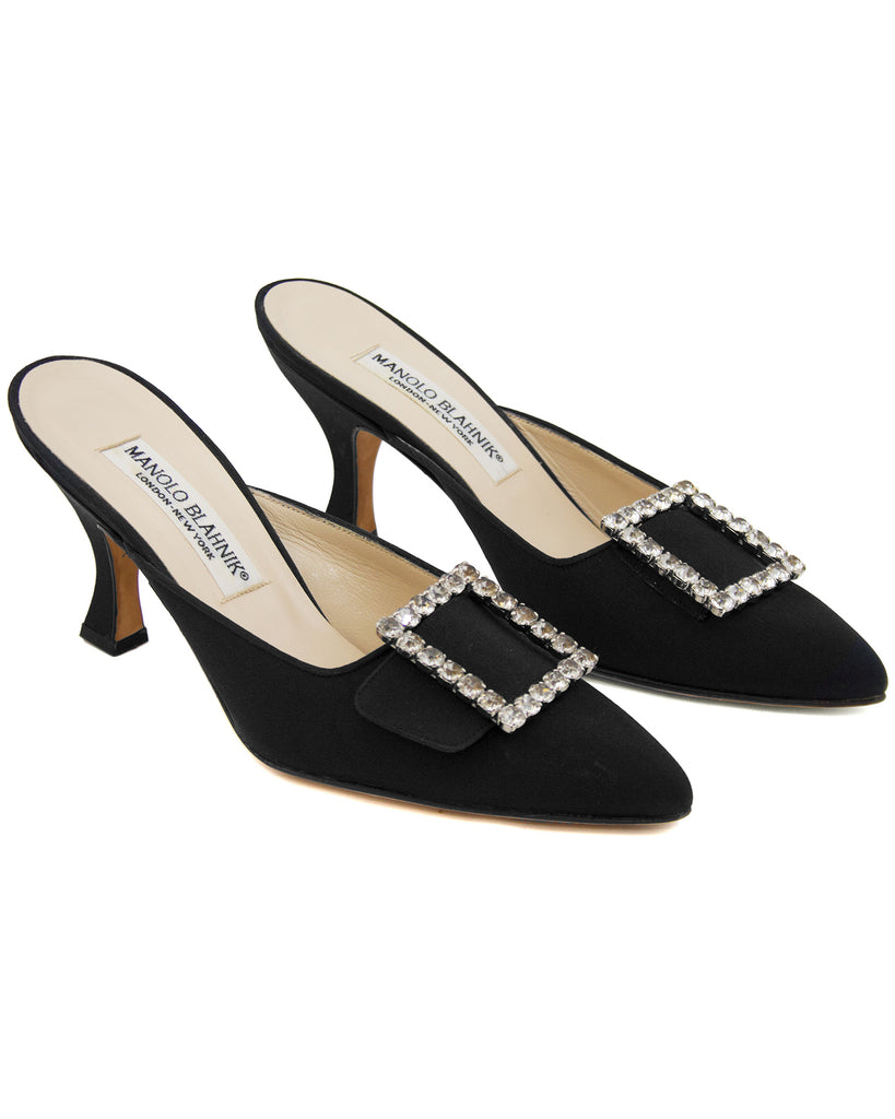 Black Satin & Rhinestone Mules Unused
