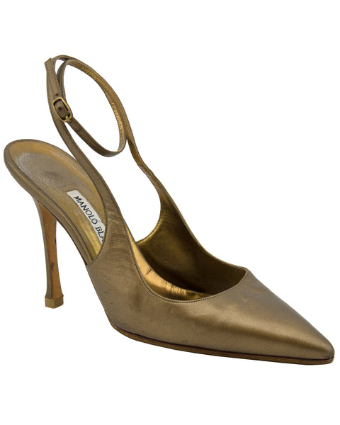 Bronze Mules With Ankle Strap