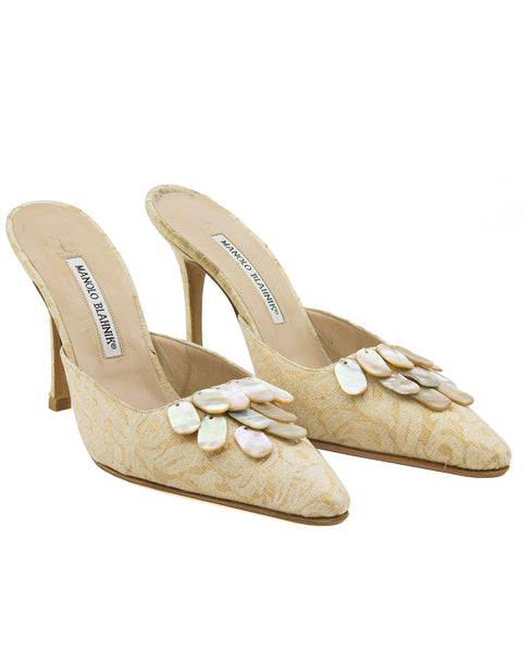Cream High Heel Mules with Mother of Pearl Details