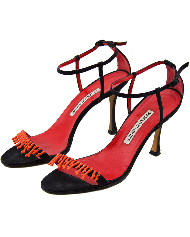 Black Suede Ankle Strap Heels with Coral Applique